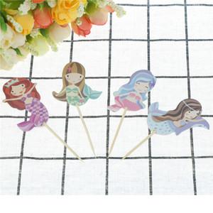 Karikatür Mermaid Cupcake Topper Düğün Yonca Alır Çocuk Doğum Günü Partisi Dekor Bebek Duş Kek Dekorasyon Malzemeleri