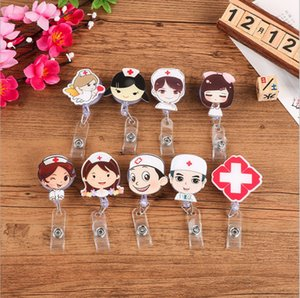 Cartoon Mini Retractable Badge Reel Student Nurse Exihibiton Pull Key ID Name Card lanyards Badge Holder Clip 21styles