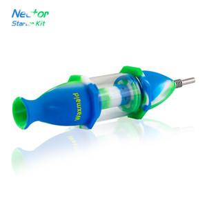 Nectar Collector Kit Kommen Sie mit Titan-Nagel Waxmaid Nector Silikon + Glas Wasserpfeifen Glaspfeife für Ölbatzen Rigs