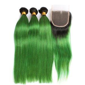 레이스 클로저로 다크 루트 Pre-Colored 인간의 머리카락 묶음 Bazilian 스트레이트 인간의 머리카락 3 묶음 1B와 함께 녹색 옹색 색상 번들
