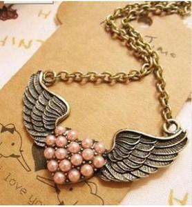 Angel Wings Halsketten-Herz-Halskette ein Stück meines Herzens lebt im Himmel Geschenk für Tochter Freundin Perlen Anhänger Halskette