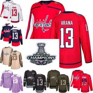 2018 Campeões Stanley Cup 13 jakub vrana washington capitais vermelho EUA Bandeira Roxo Lutas Prática de Câncer Camo Veterans Day hockey Jersey