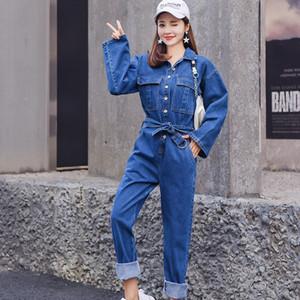 Kadın Giyim Sonbahar Bahar Tulum Kot Açık Mavi Umpsuits, Playsuits Bodysuits Denim Casual Tulumları Kadın Güreş