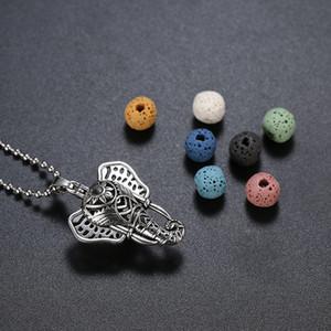 Antique Silver Flower Elefante Cabeça Medalhão Aromaterapia Difusor de Óleo Essencial Bead Pearl Gaiola Pingente de Colar com 1 bola de Presente Da Jóia