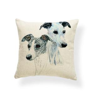 Square Greyhound Cojín Merry Christmas Pillow Case Animal Home Outdoor Decor Copo de nieve Throw Pillows Turkish Kilim 18X18 Arpillera Suave