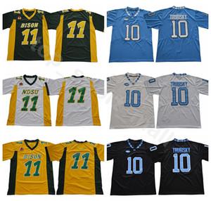 NDSU Bison College 11 Carson Wentz Jersey Herren North Carolina Tar Heels Fußball 10 Mitchell Trubisky-Trikots UNC Schwarz Blau Weiß Grün