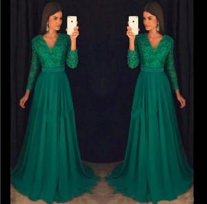 Robes de soirée en mousseline de soie vert émeraude Vintage à manches longues Sexy robe de bal à col en V