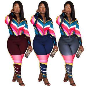 Kadın Patchwork Eşofman Joggers Kıyafet Spor Çizgili Eşleştirme Moda Ekleme Uzun Kollu Fermuar Ceket Kaban + Pantolon Tayt Setleri
