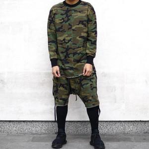 Homens calções hip hop camuflagem Harajuku harém shorts homens fita lado boardshorts queda virilha moletom masculino