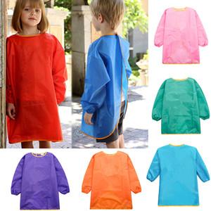 Niños Delantales Babero Ropa Ropa Bebé Impermeable Manga Larga Smock Niños Comer Comida Pintura Burp Cloths 7 color WX9-773