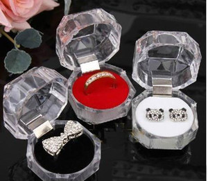 Paquet de bijoux Boîtes Porte-Anneau Boucle D'oreille Boîte D'exposition Acrylique Transparent Emballage De Mariage Boîte De Rangement Cas