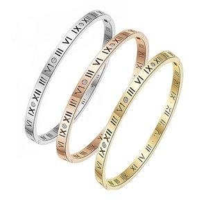 Горячие римские закономерные браслеты для женщин Высокие польские браслеты из нержавеющей стали Браслет женское подарок розовое золото / серебро / золото
