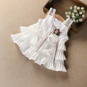 Verano Rojo algodón de las muchachas del vestido del verano niños viste la ropa de los niños Blanco Rosa de la muñeca de la niña de la princesa de la torta falda del tutú