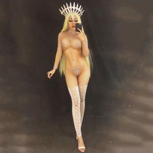 Nueva Mujeres Sexy Etapa Mono Desnudo para Cantante Cristales Espumosos Fiesta Nocturna Fiesta de Vestir Traje Celebrar Cumpleaños ropa