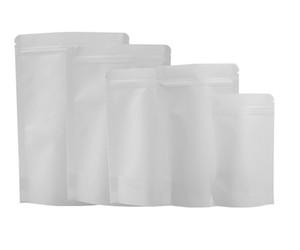 13x21cm Tear Notch Kraft Paper Heat Sealing Stand Up Almacenamiento de alimentos Bolsa Kraft con cierre de cremallera blanca
