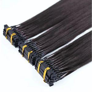 Mejor la venta de productos de alta calidad ayuna extensiones de cabello Remy 6D pre consolidadas humano, extensiones micro del anillo, 6d extensiones de pelo