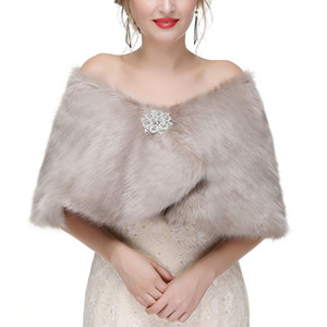가짜 모피 겨울 결혼식 특별 행사 조정 가능한 크기 우아한 여성 신부 공식적인 저녁 파티 행사에 대 한 Shawls 랩 CPA1603