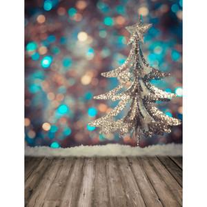 Bokeh Photography Backdrops 사진 스튜디오를위한 회색 나무 바닥 3D 배경 크리스마스 배경 아기 샤워 신생아 사진 폰