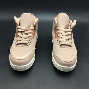 Mujeres 3 Rose Gold Particle Baloncesto Shoes 2018 primera mirada Beige / Metallic Red Bronze-Sail mujeres diseñador zapatos zapatillas de deporte