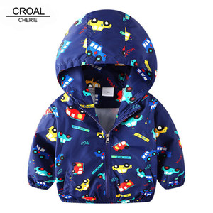CROAL CHERIE 80-130cm Autumn Outerwear Coats Boys Kids Jacket For Girls Cartoon Car Printing 2018 Spring Children Clothing