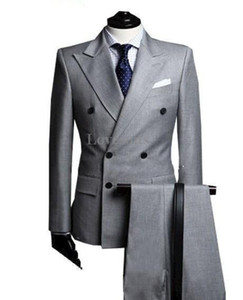 2018 Nouvelle Arrivée Custom Made Mode Gris Clair Double Breasted Costume Business Hommes Costumes De Mariage Groom Smoking Meilleur Homme Costume (Veste + Pantalon + Cravate