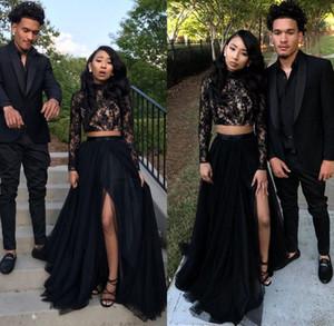 Due pezzi Black Girl Prom Party Dresses 2019 Pizzo maniche lunghe paillettes A-Line Tulle Side Split abiti da sera economici Occasioni sexy Dress
