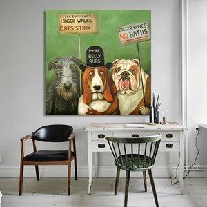 Handgemalte HD Print Abstrakte Hunde auf Streik Animal Art Ölgemälde Home Decoration hochwertige dicke Leinwand Multi Größen a30
