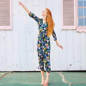 Pantaloni lunghi con stampa ananas femminile Pantaloni tuta elegante allentato femminile con fasce Casual Lady Playsuits Salopette Talever