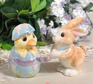 Керамический контейнер для кроликов Емкость для специй Кувшин для хранения кухни Домашний декор фарфоровые статуэтки утка Банки для соли и перца Поделки ручной работы
