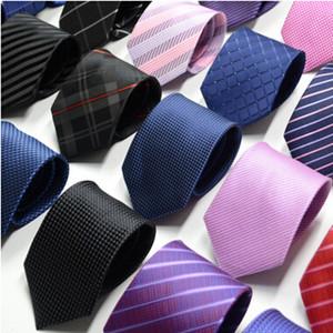Jakarlı Iş Boyun Kravatlar erkek kravat ipek kravatlar klasik erkekler iş resmi düğün kravat 8 cm çizgili kravat gömlek elbise aksesuarları
