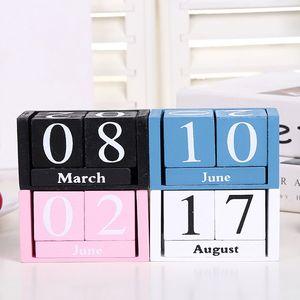 Zakka Kreative Holz Kalender Desktop Dekoration manuelle Kalender Fotografie Requisiten Home Office Desktop Dekorationen Holz Ornamente niedlich