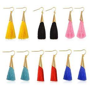 Pendientes elegantes de la borla Pendientes colgantes de oro económico Hilo de algodón Hilo multicolor Pendientes de gota de hilo