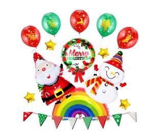 Yeni Noel Alüminyum Folyo Balonlar Noel Baba Balon Set Merry Christmas Çekme Bayrak Parti Soyunma Dekorasyon