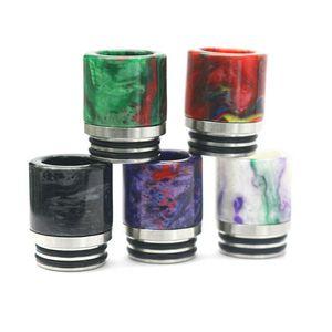 810 Drip Tip Epoxy Resin + Acier Inoxydable Large Bore Embouchure Vape Pen Drip Tips Pour Smok TFV8 TFV12 Kennedy Goon RDA Atomiseur