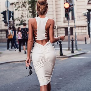 Mulher Modal oco Out Com Belt Design Império partido sexy das senhoras Bandage Dresses Clube Dreeses Womens magros BODYCON Bainha Vestidos