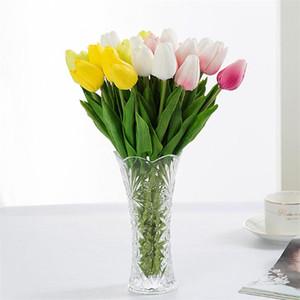 진짜 터치 Pu 미니 튤립 가짜 꽃 결혼식 인공 꽃 실크 꽃 꽃다발 홈 인테리어 테이블 정렬 30pcs / Lot