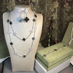 L'alta qualità 925 dei quattro fogli fiore dei monili per le donne di nozze bracciale orecchini collana di madreperla shell gioielli trifoglio