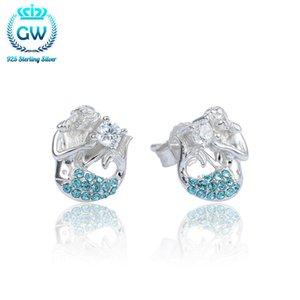 925 Sterling Silver Mermaid Stud orecchino Pave Blue Crystal Marca Gw Gioielli per le donne Festa di nozze di marca GW gioielli Er1038
