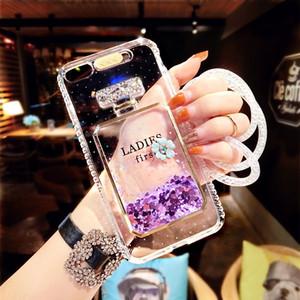 호화스러운 이동 전화 상자 소프트 TPU 케이스 실리콘 방울 투명한 빠른 모래 드릴 케이스 iphone XS 최대 X 7 8를위한 저속한 끈