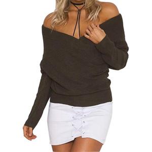 WKoud Mulheres Candy Color Cruz Suéteres Deep V-Pescoço De Malha Feminino Long Club Streetwear Casual Sexy Sweater M8056