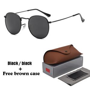 Classic Brand Round Sunglasses para hombres mujeres gafas de sol Unisex Eyewear Male Oculos 13 colores para elegir con brwon casos