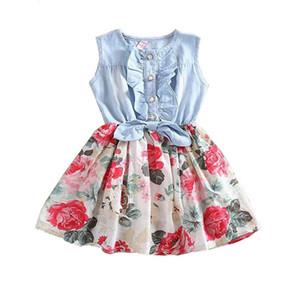 2017 nuovi bambini di estate senza maniche abiti da cowboy fiore con bottoni bambina Principessa vestito estivo Toddler Kids Fancy Dress