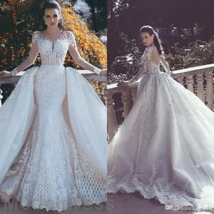 African Luxury Lace Mermaid Brautkleider 2020 Illusion Ausschnitt Langarm abnehmbarer Zug Appliques wulstige Plus Size Arabisch Brautkleider