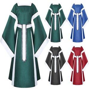 Disfraces de Halloween vestidos de las mujeres europeas y americanas faldas de encaje de las mujeres medievales largas secciones traje de la etapa