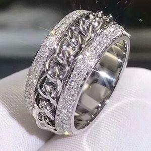 빅토리아 Wieck Vecalon 반짝 이는 럭셔리 쥬얼리 925 스털링 실버 포장 작은 흰색 사파이어 CZ 다이아몬드 여성 결혼 반지 Rotatable 반지