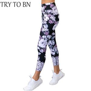 TRY TO BN Fitness Legging 2018 مرونة عالية الخصر عارضة طباعة رفع تجريب طماق أزياء للنساء