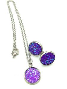 druzy cristal pendentif collier boucles d'oreilles ensemble de bijoux paillettes pendentif boucles d'oreilles femmes mariage dîner luxe bijoux
