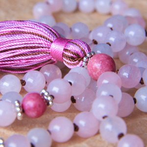 108 RoseQuartz Mala Beads Necklace Prayer Necklaces Yoga Jewelry For Love & Emotional Health Buddhist Rosary Tassel Knotted Necklace