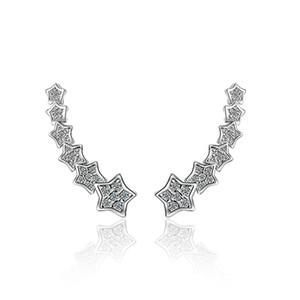 ED477 Orecchini per donna Gemstone Big Long Ciondola geometrica Drop Five Star Orecchini Cubic Zirconia Statement Crystal Earrings