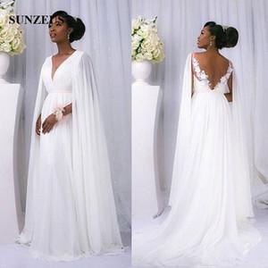 2018 Robes de mariée de femmes africaines A-line col en V Longue en mousseline de soie blanche Robes de mariée avec Cape abito da sposa
